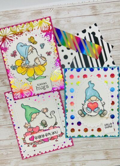 Trinity Stamps Gnomes and Thermoweb toner card fronts